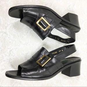 Cole Haan Womens 6 1/2B Black Leather Sandals Peep